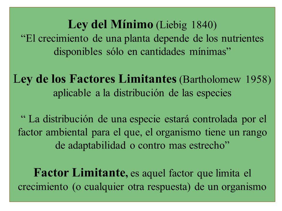 Ley del Mínimo (Liebig 1840) El crecimiento de una planta depende de los nutrientes disponibles sólo en cantidades mínimas Ley de los Factores Limitantes (Bartholomew 1958) aplicable a la distribución de las especies La distribución de una especie estará controlada por el factor ambiental para el que, el organismo tiene un rango de adaptabilidad o contro mas estrecho Factor Limitante, es aquel factor que limita el crecimiento (o cualquier otra respuesta) de un organismo