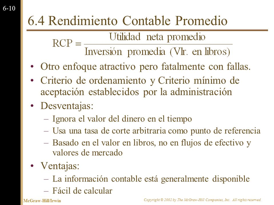 6.5 La Regla de la Tasa Interna de Retorno (TIR)