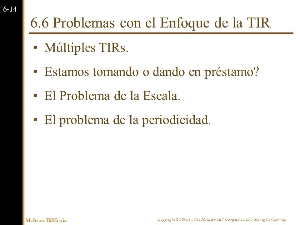Múltiples TIRs Hay dos TIRs para este proyecto: Cuál deberíamos usar