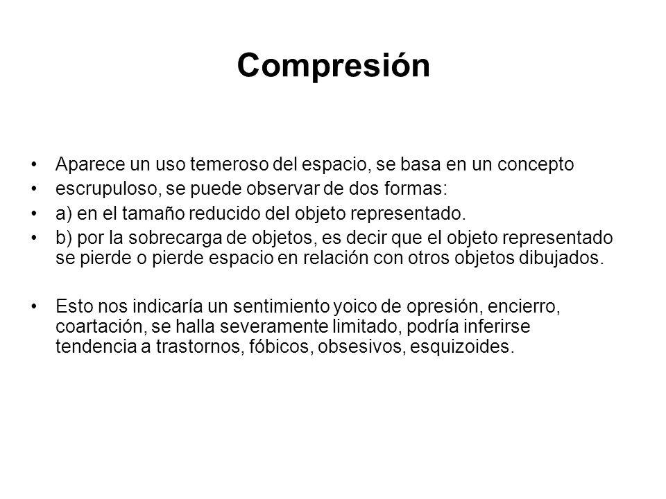 Compresión Aparece un uso temeroso del espacio, se basa en un concepto. escrupuloso, se puede observar de dos formas: