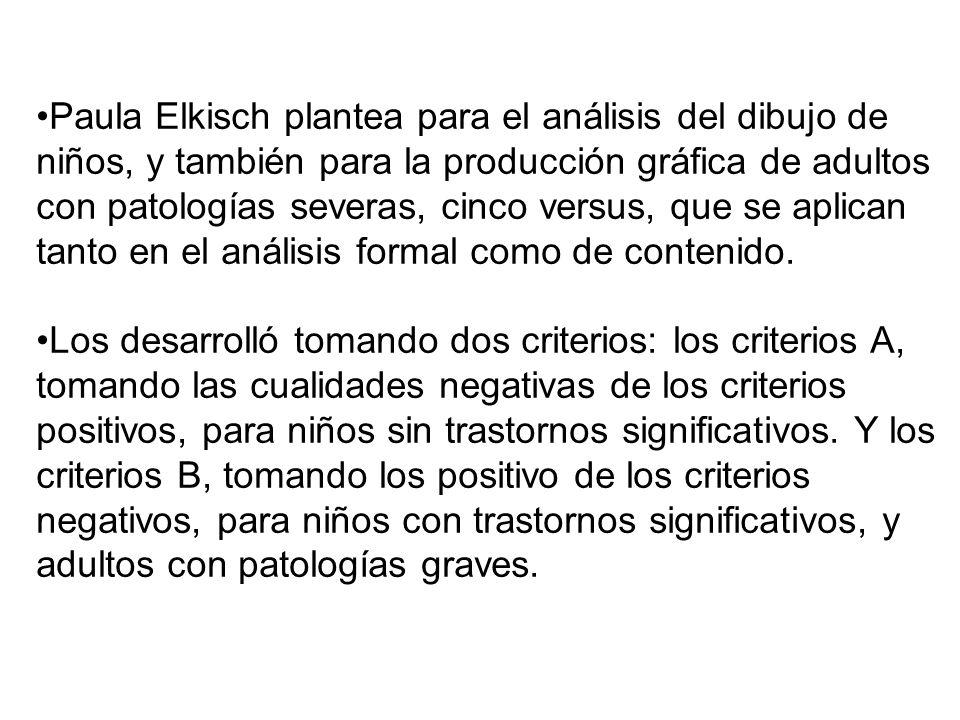 Paula Elkisch plantea para el análisis del dibujo de niños, y también para la producción gráfica de adultos con patologías severas, cinco versus, que se aplican tanto en el análisis formal como de contenido.