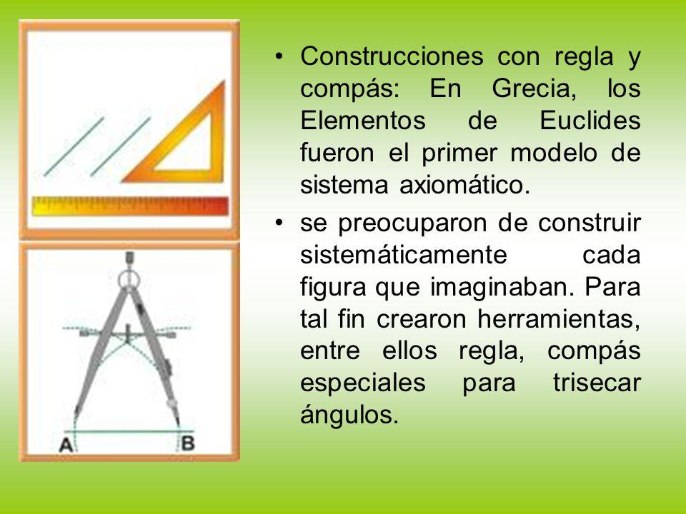 Construcciones con regla y compás: En Grecia, los Elementos de Euclides fueron el primer modelo de sistema axiomático.