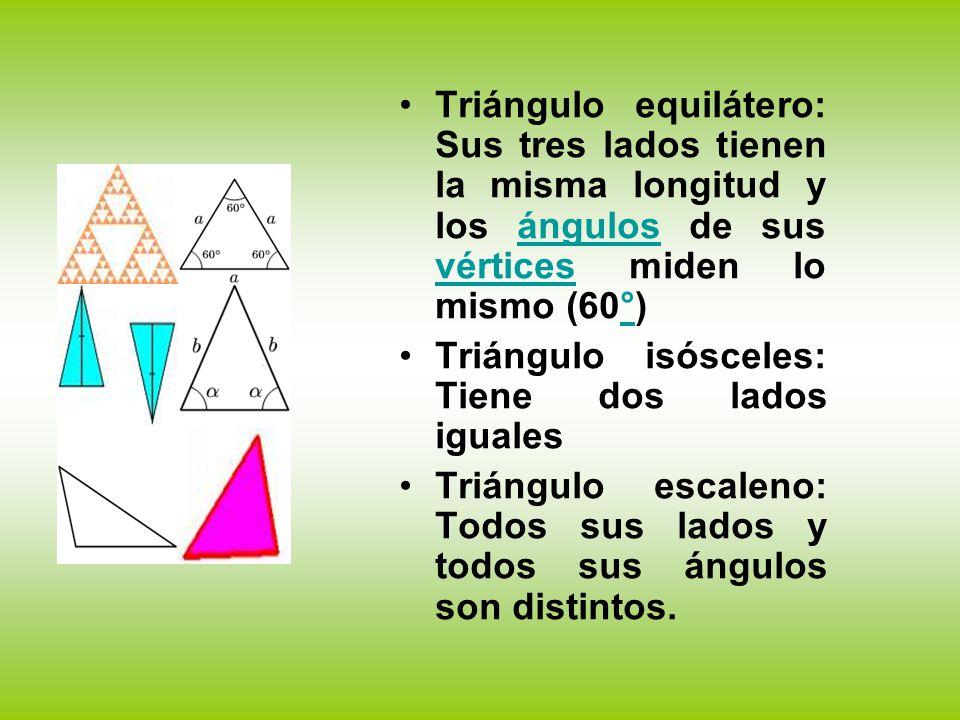 Triángulo equilátero: Sus tres lados tienen la misma longitud y los ángulos de sus vértices miden lo mismo (60°)
