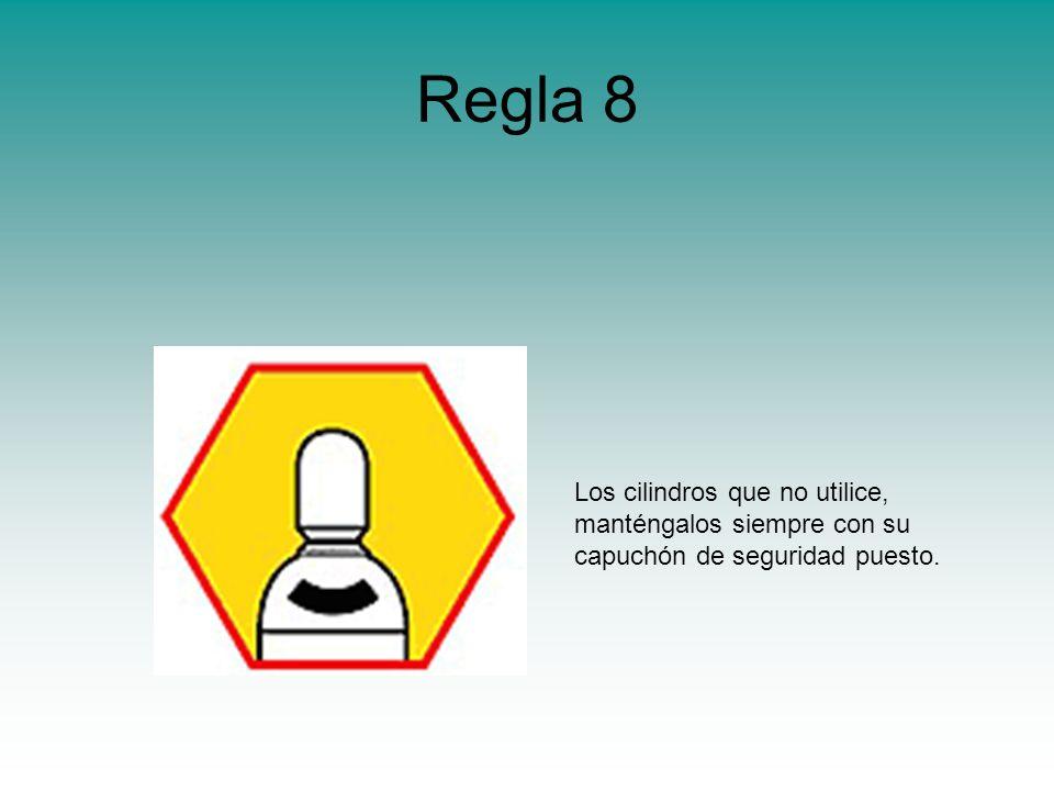Regla 8 Los cilindros que no utilice, manténgalos siempre con su capuchón de seguridad puesto.