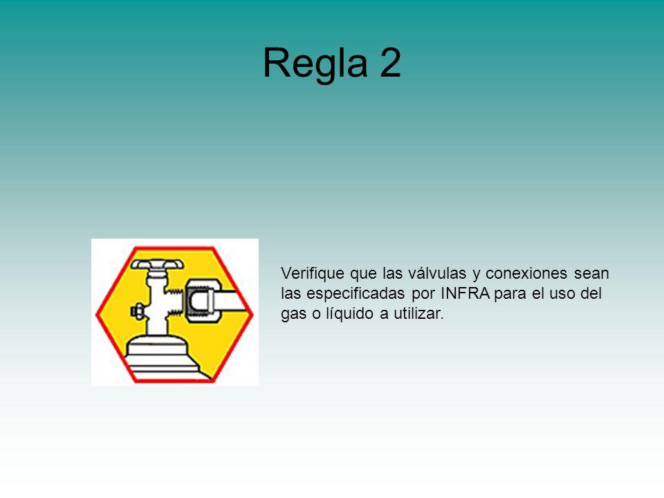Regla 2 Verifique que las válvulas y conexiones sean las especificadas por INFRA para el uso del gas o líquido a utilizar.