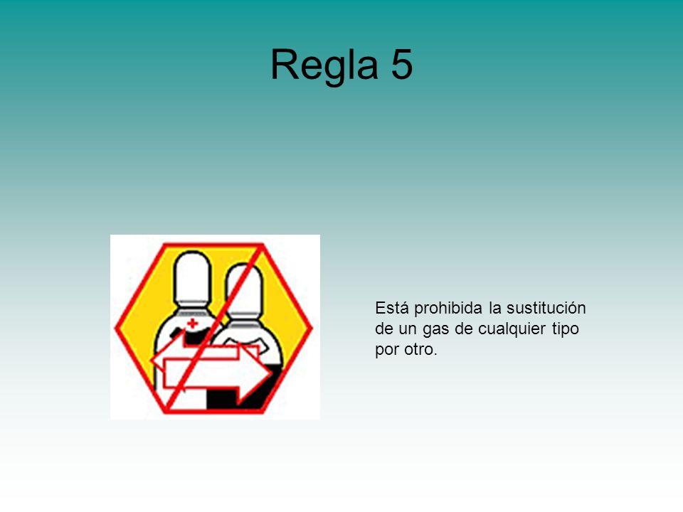 Regla 5 Está prohibida la sustitución de un gas de cualquier tipo por otro.