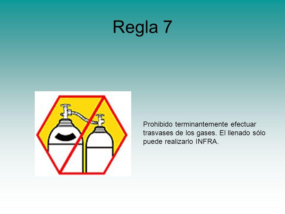 Regla 7 Prohibido terminantemente efectuar trasvases de los gases.
