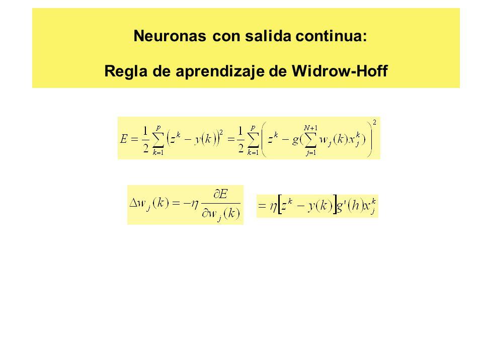 Neuronas con salida continua: Regla de aprendizaje de Widrow-Hoff