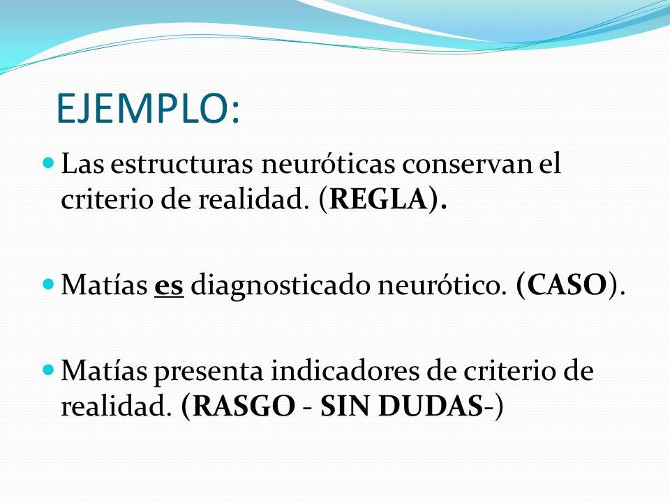 EJEMPLO: Las estructuras neuróticas conservan el criterio de realidad. (REGLA). Matías es diagnosticado neurótico. (CASO).