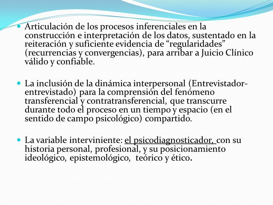 Articulación de los procesos inferenciales en la construcción e interpretación de los datos, sustentado en la reiteración y suficiente evidencia de regularidades (recurrencias y convergencias), para arribar a Juicio Clínico válido y confiable.