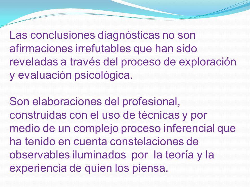 Las conclusiones diagnósticas no son afirmaciones irrefutables que han sido reveladas a través del proceso de exploración y evaluación psicológica.