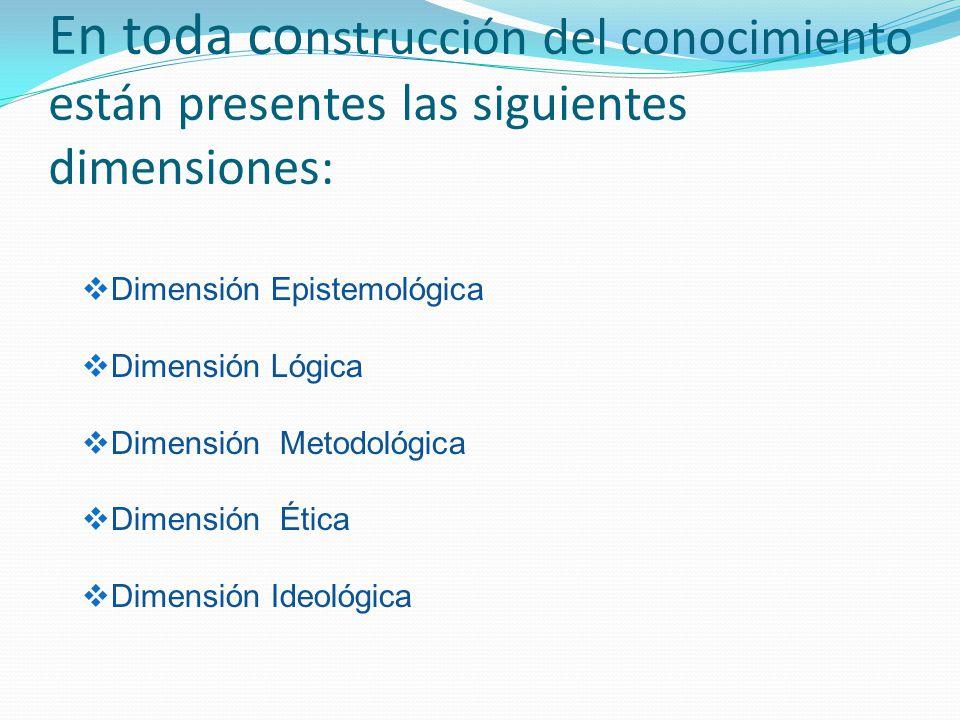 En toda construcción del conocimiento están presentes las siguientes dimensiones: