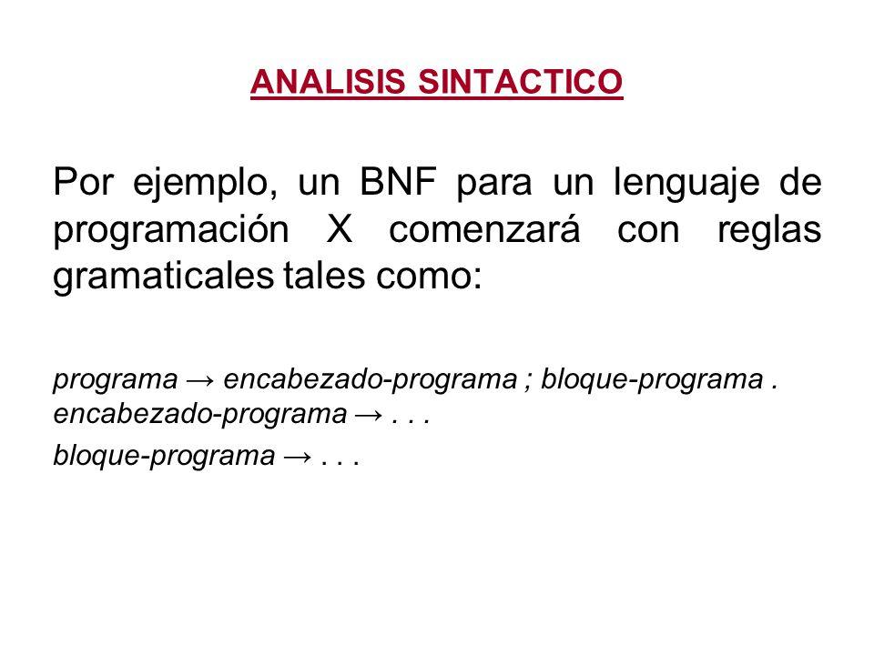 ANALISIS SINTACTICO Por ejemplo, un BNF para un lenguaje de programación X comenzará con reglas gramaticales tales como: