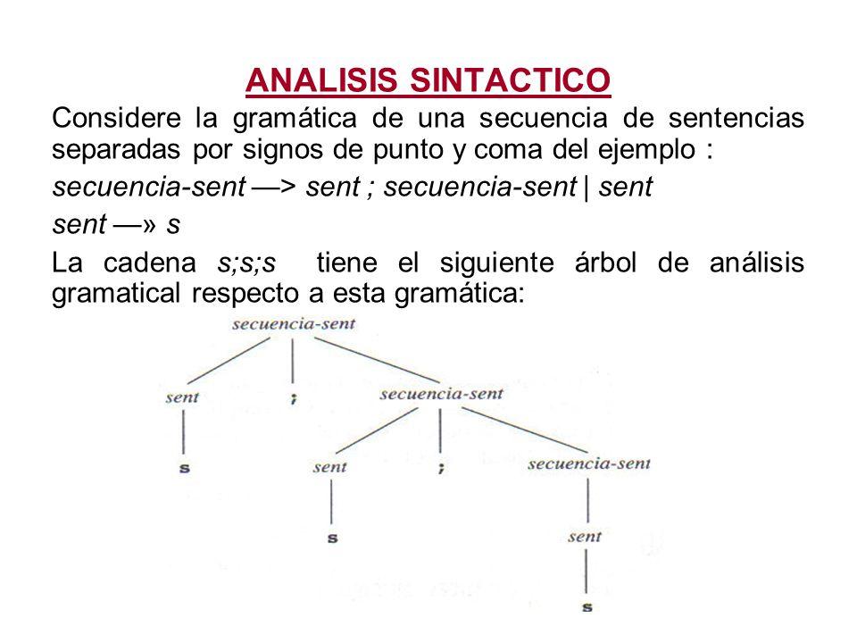 ANALISIS SINTACTICO Considere la gramática de una secuencia de sentencias separadas por signos de punto y coma del ejemplo :