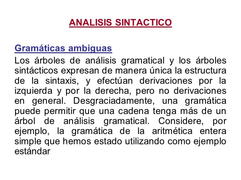 ANALISIS SINTACTICO Gramáticas ambiguas.