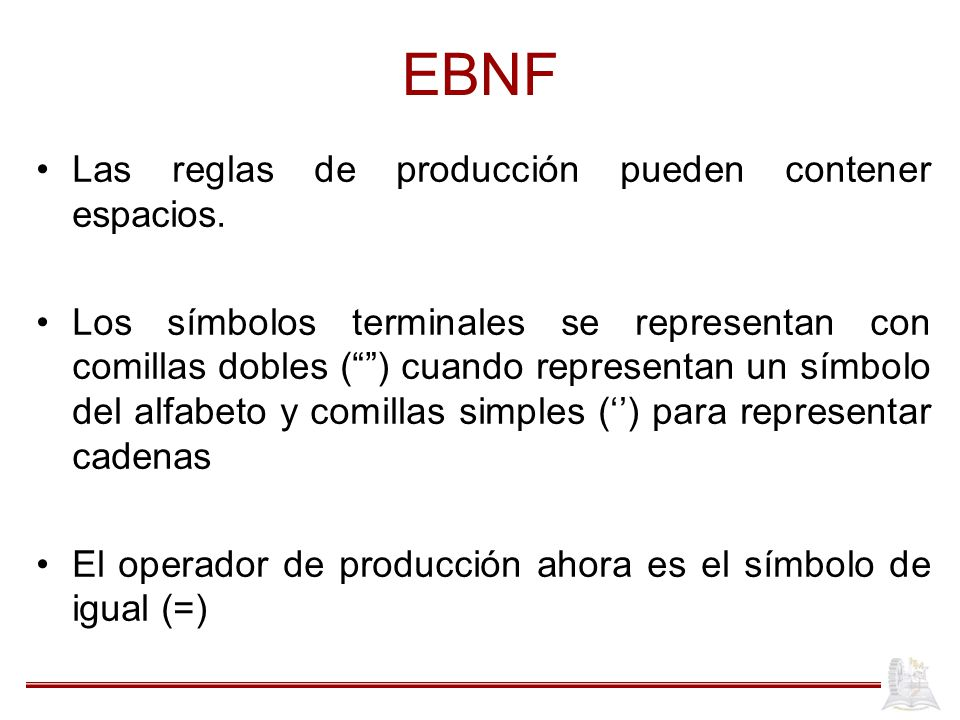 EBNF Las reglas de producción pueden contener espacios.