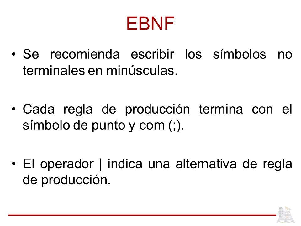 EBNF Se recomienda escribir los símbolos no terminales en minúsculas.