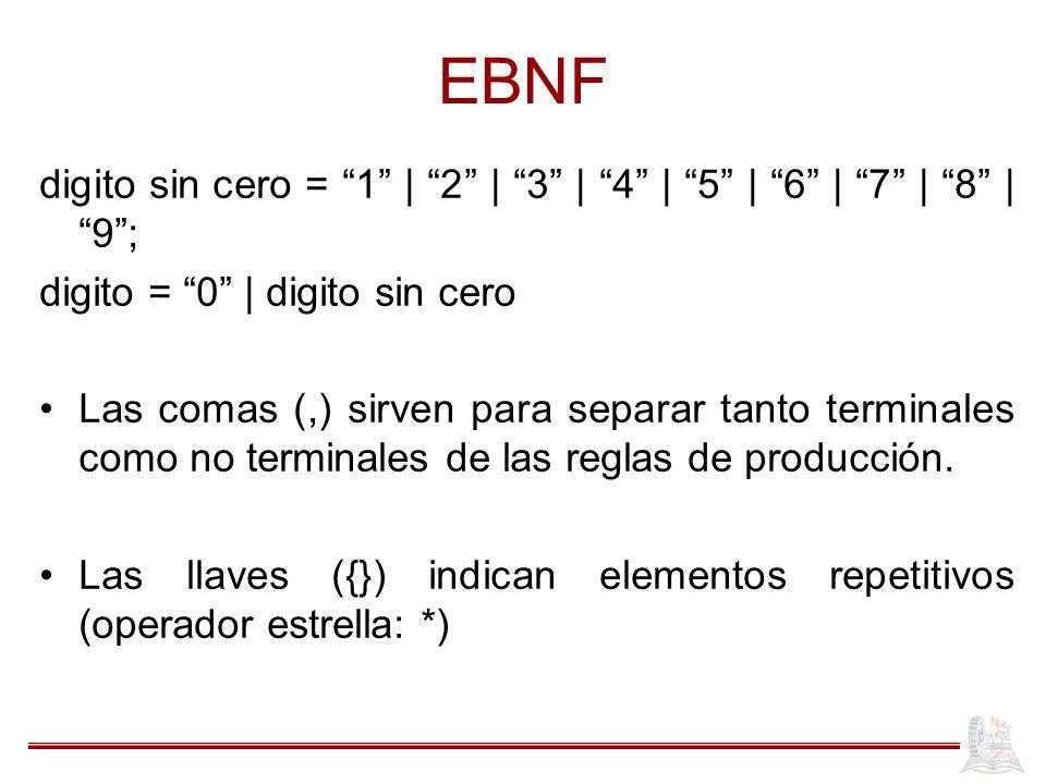 EBNF digito sin cero = 1 | 2 | 3 | 4 | 5 | 6 | 7 | 8 | 9 ; digito = 0 | digito sin cero.