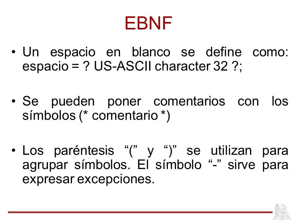 EBNF Un espacio en blanco se define como: espacio = US-ASCII character 32 ; Se pueden poner comentarios con los símbolos (* comentario *)