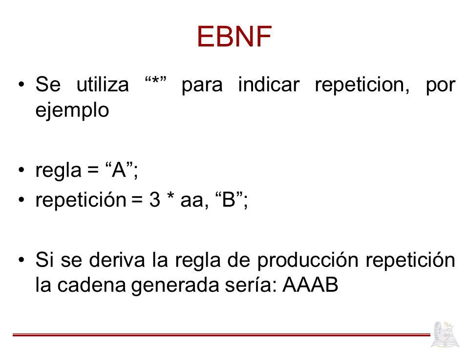 EBNF Se utiliza * para indicar repeticion, por ejemplo regla = A ;