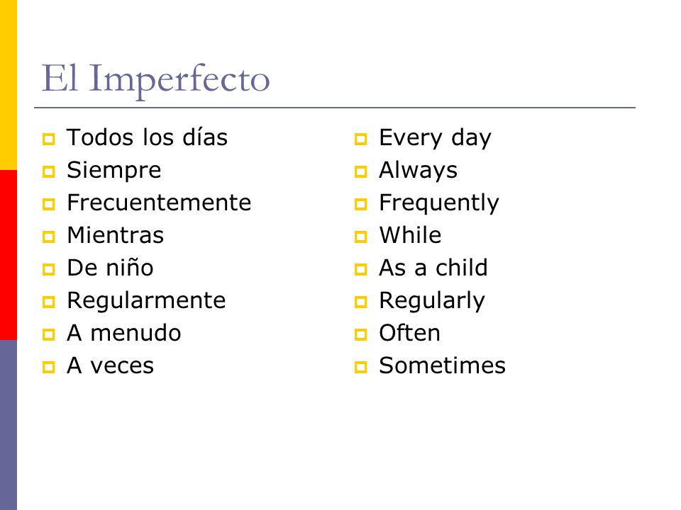 El Imperfecto Todos los días Siempre Frecuentemente Mientras De niño