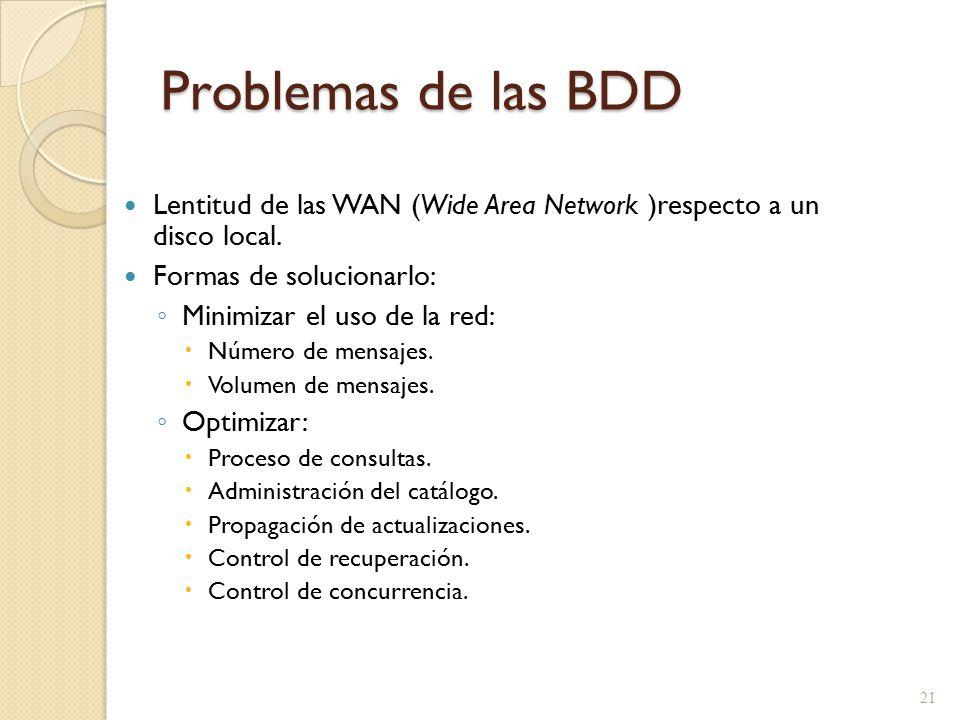 Problemas de las BDD Lentitud de las WAN (Wide Area Network )respecto a un disco local. Formas de solucionarlo: