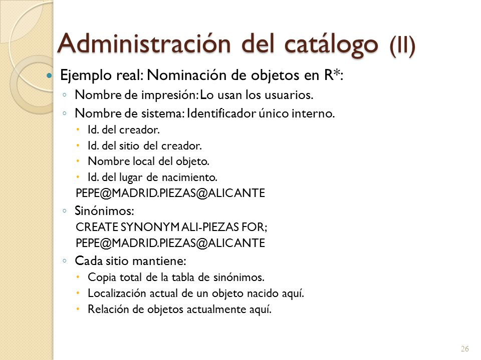 Administración del catálogo (II)