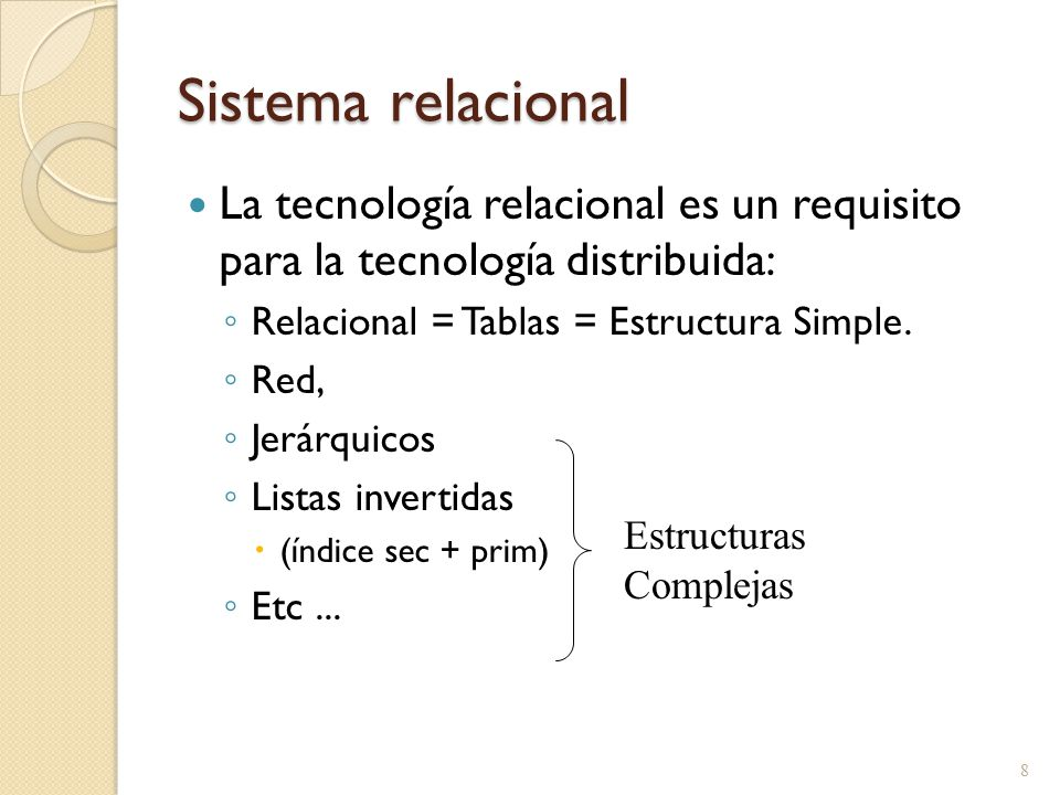 Sistema relacional La tecnología relacional es un requisito para la tecnología distribuida: Relacional = Tablas = Estructura Simple.