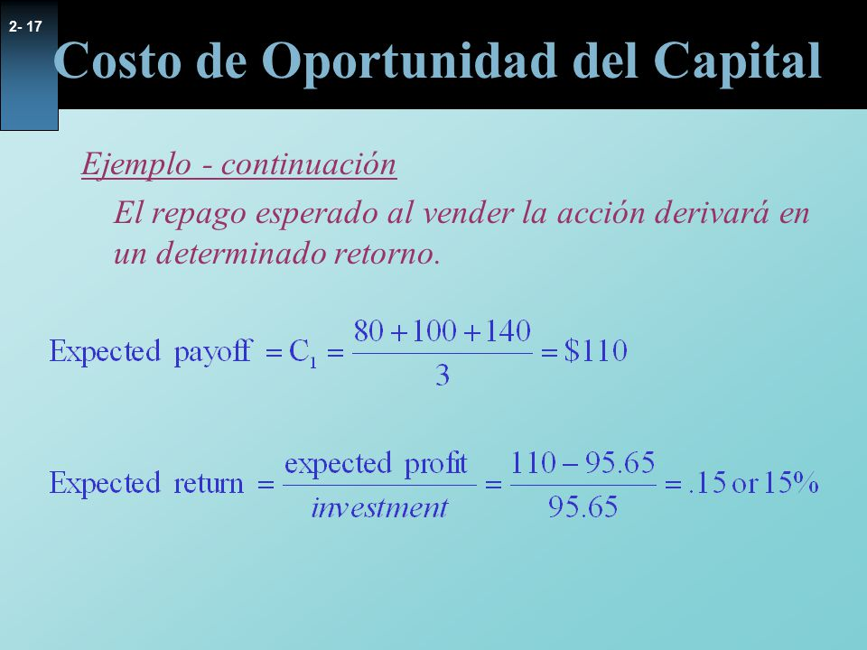 Costo de Oportunidad del Capital
