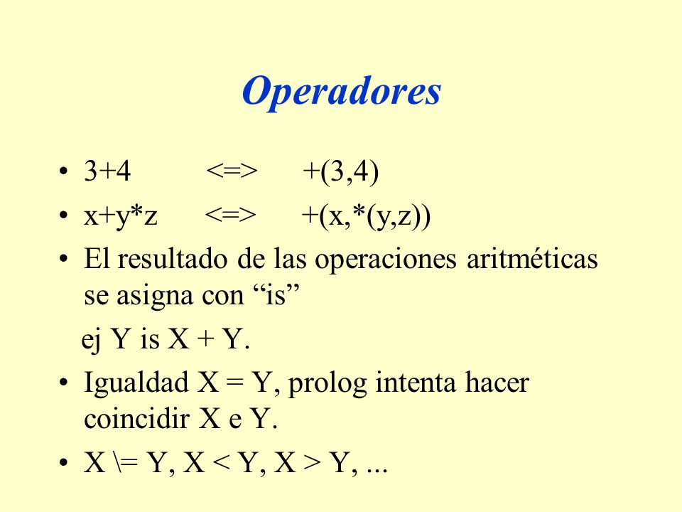 Operadores 3+4 <=> +(3,4) x+y*z <=> +(x,*(y,z))