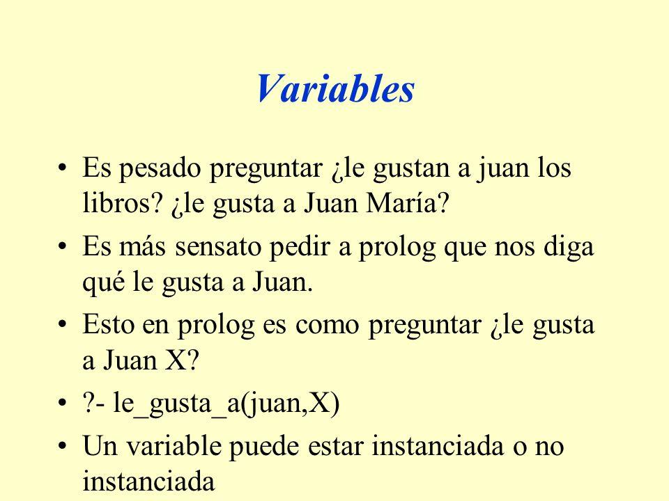 Variables Es pesado preguntar ¿le gustan a juan los libros ¿le gusta a Juan María Es más sensato pedir a prolog que nos diga qué le gusta a Juan.
