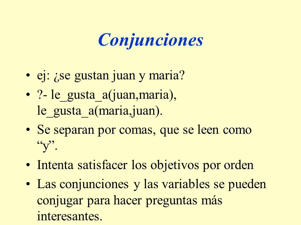 Conjunciones ej: ¿se gustan juan y maria