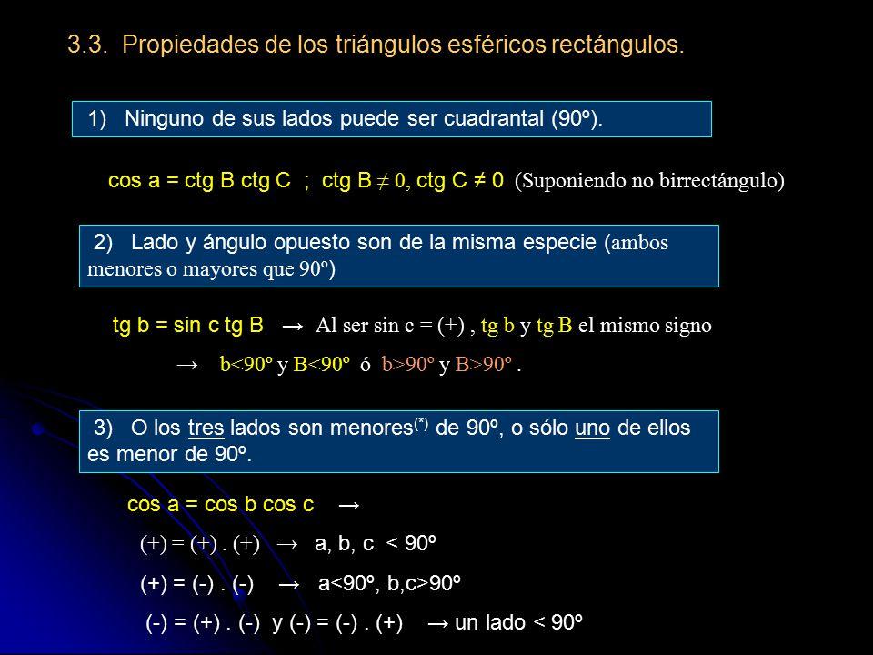 3.3. Propiedades de los triángulos esféricos rectángulos.