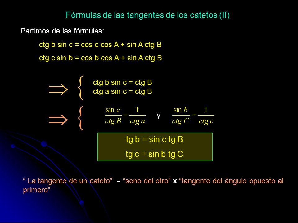 Fórmulas de las tangentes de los catetos (II)