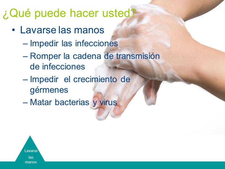 ¿Qué puede hacer usted Lavarse las manos Impedir las infecciones