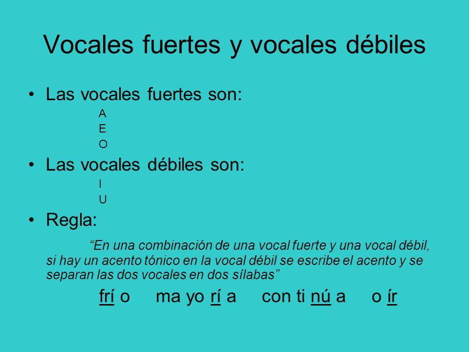 Vocales fuertes y vocales débiles