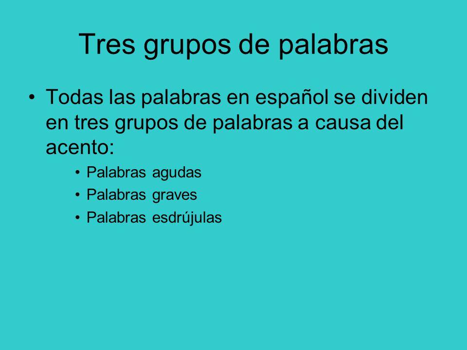 Tres grupos de palabras