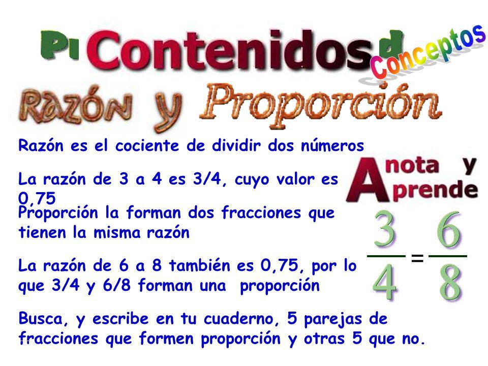 Conceptos = Razón es el cociente de dividir dos números
