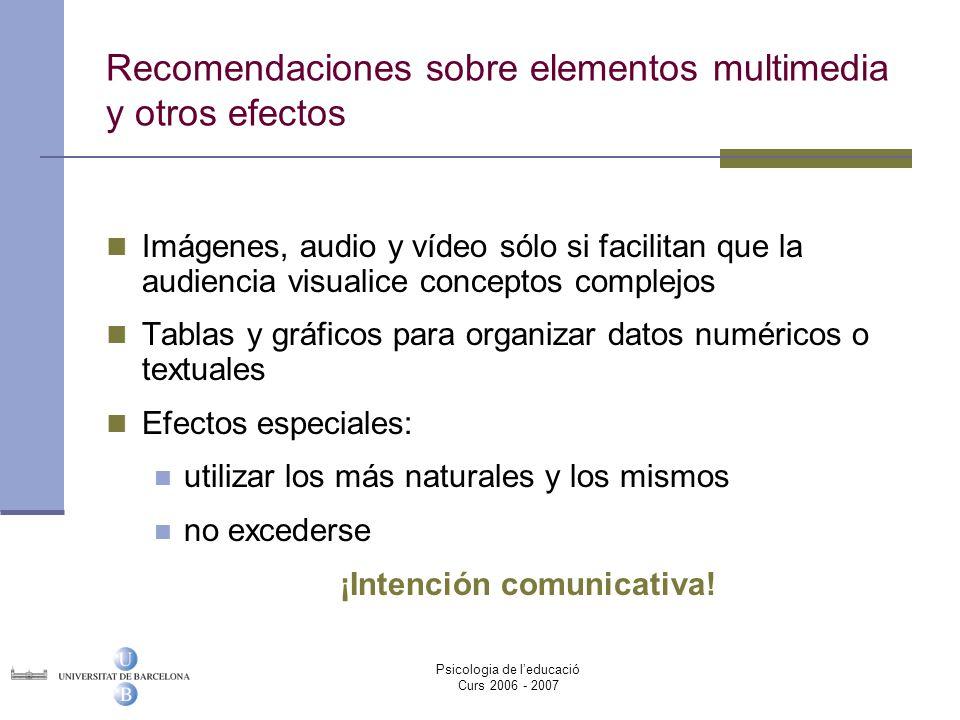 Recomendaciones sobre elementos multimedia y otros efectos