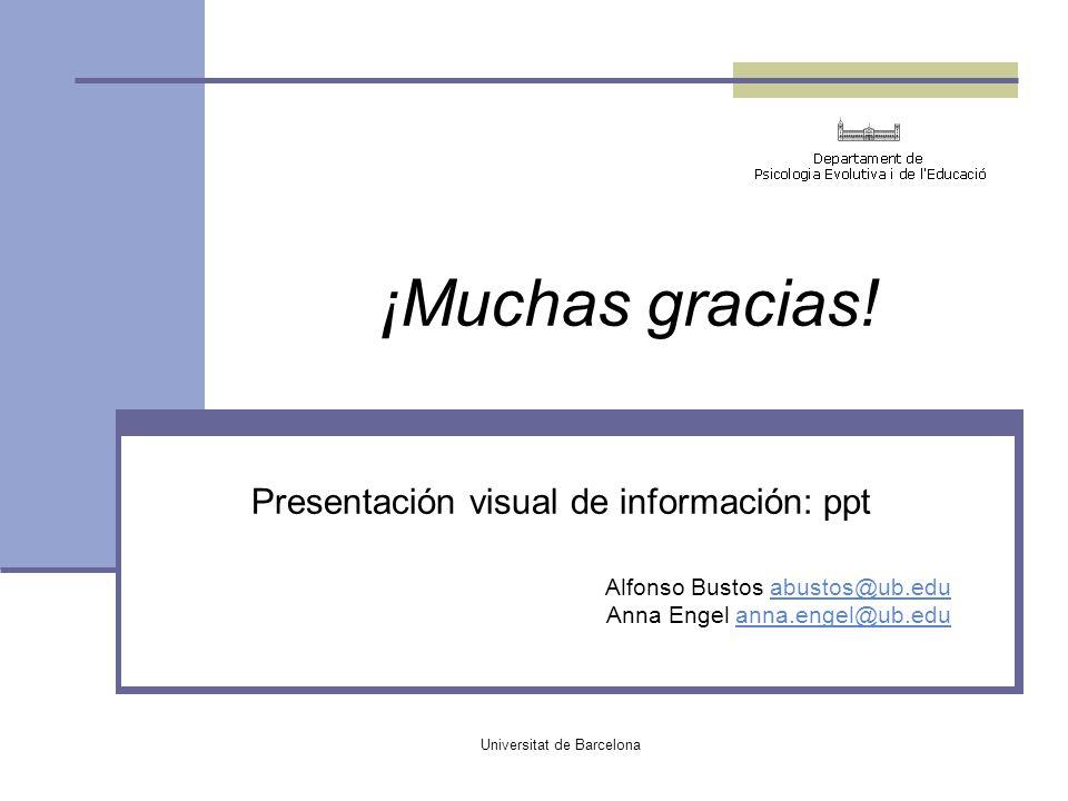 ¡Muchas gracias! Presentación visual de información: ppt