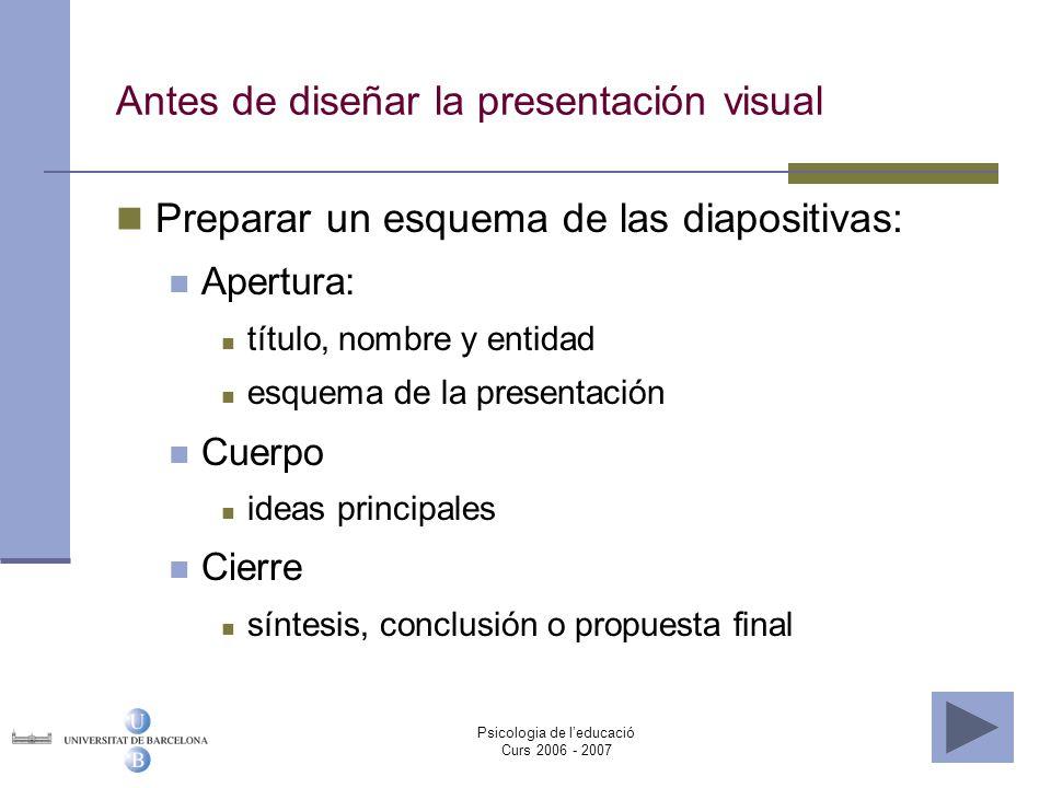 Antes de diseñar la presentación visual