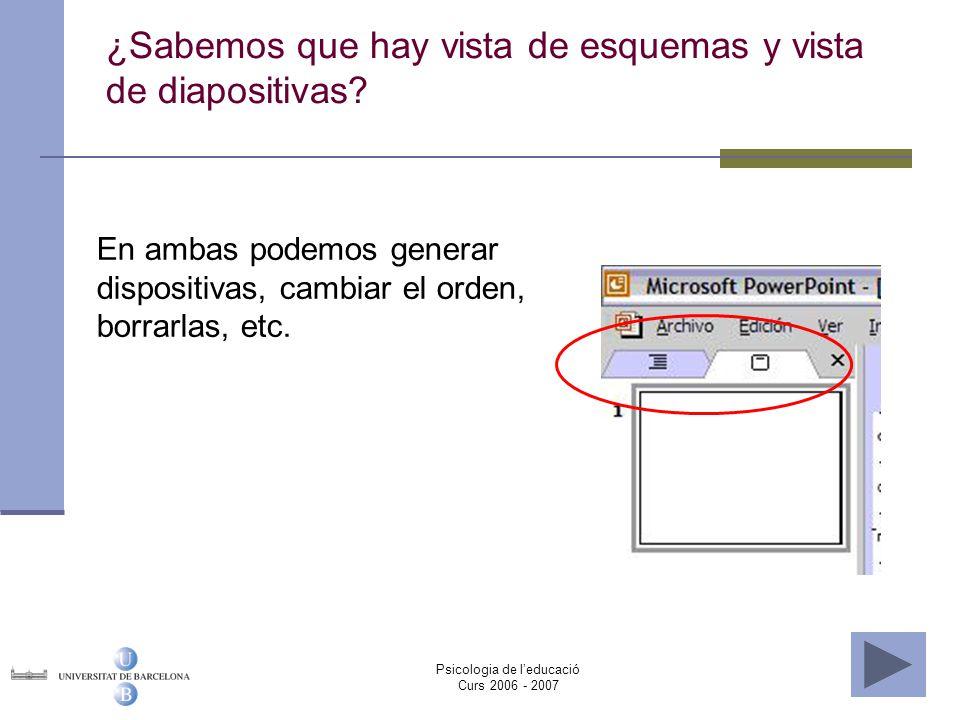 ¿Sabemos que hay vista de esquemas y vista de diapositivas