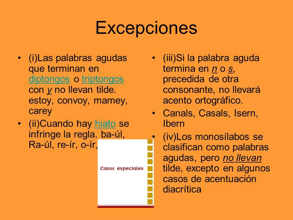 Excepciones (i)Las palabras agudas que terminan en diptongos o triptongos con y no llevan tilde. estoy, convoy, mamey, carey.