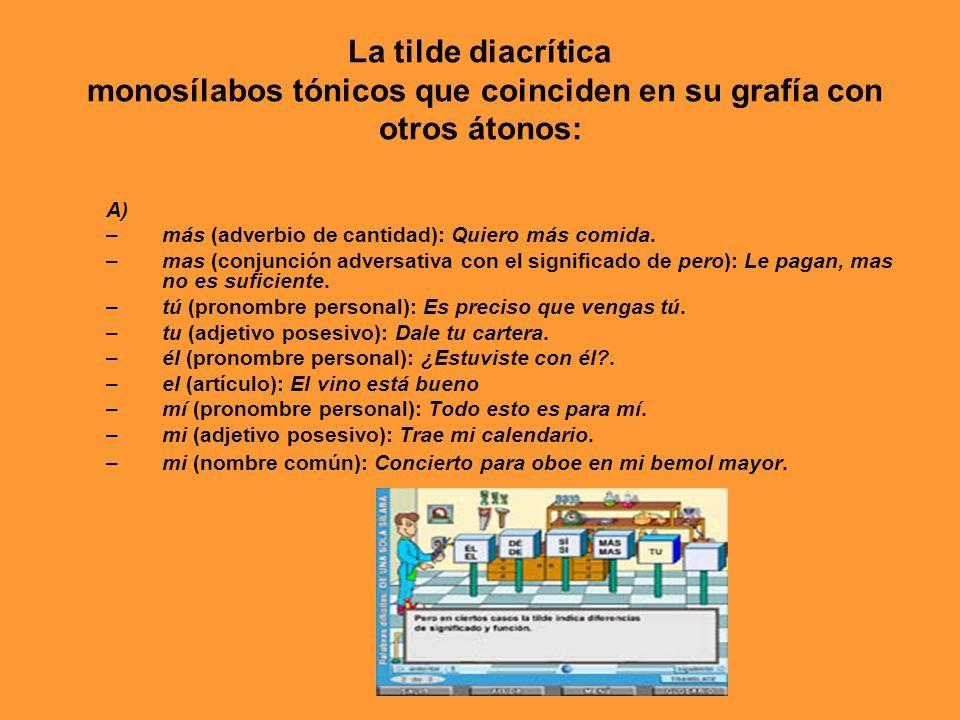 La tilde diacrítica monosílabos tónicos que coinciden en su grafía con otros átonos: