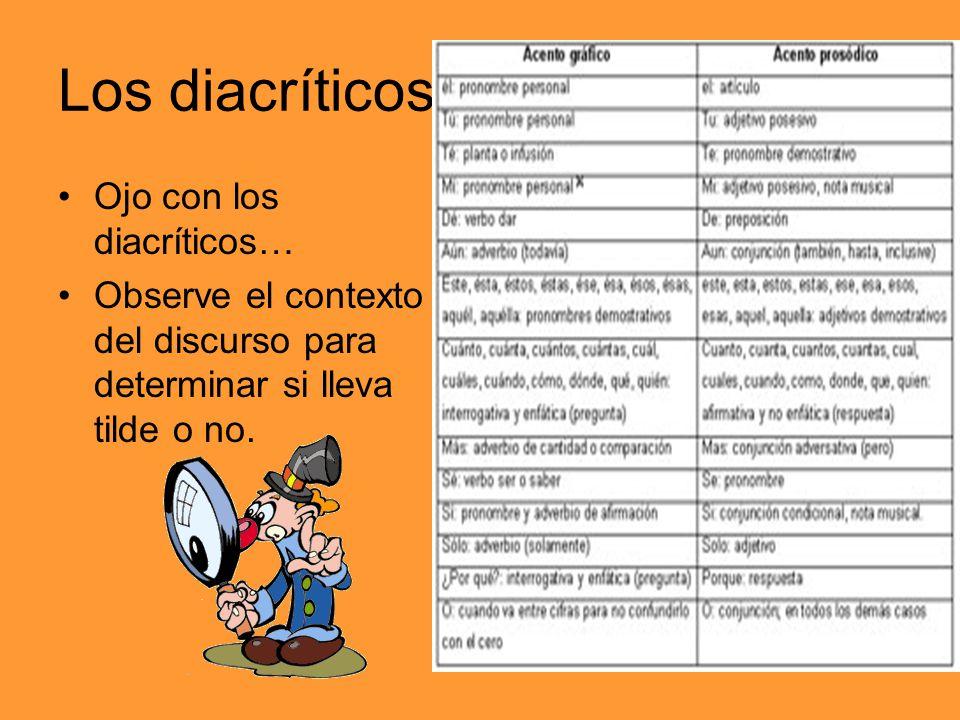 Los diacríticos Ojo con los diacríticos…