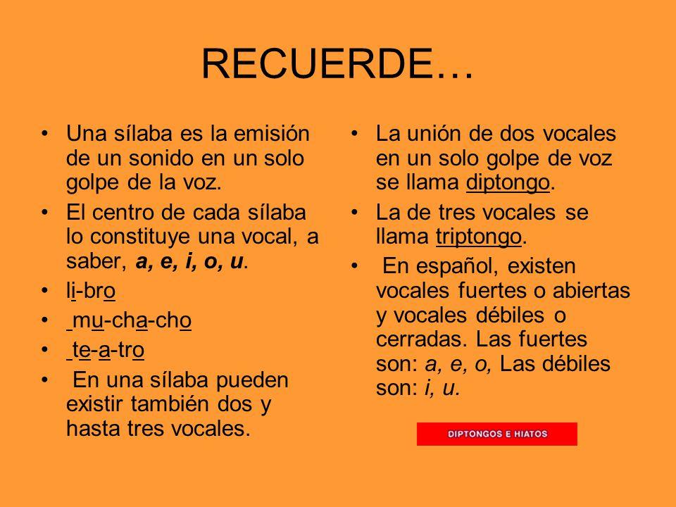 RECUERDE… Una sílaba es la emisión de un sonido en un solo golpe de la voz.