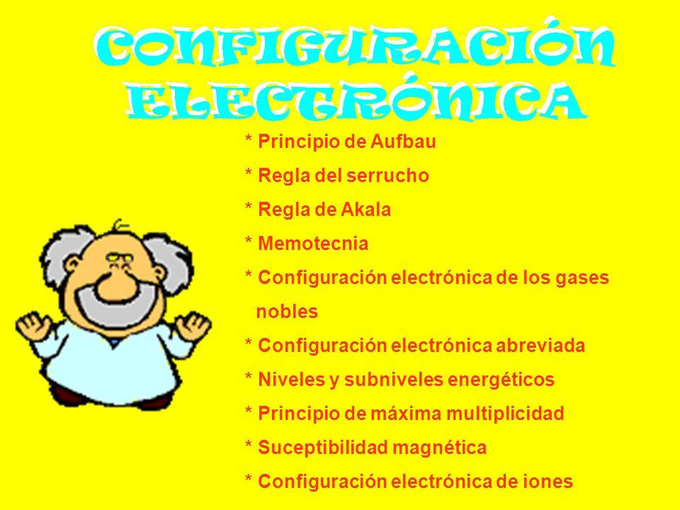 * Principio de Aufbau * Regla del serrucho. * Regla de Akala. * Memotecnia. * Configuración electrónica de los gases.