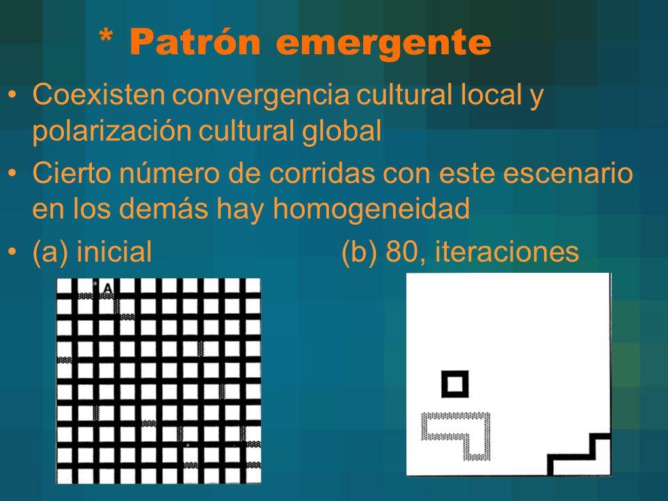 * Patrón emergente Coexisten convergencia cultural local y polarización cultural global.