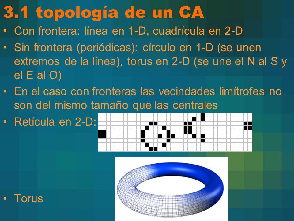 3.1 topología de un CA Con frontera: línea en 1-D, cuadrícula en 2-D