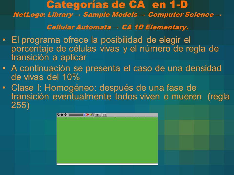 Categorías de CA en 1-D NetLogo: Library → Sample Models → Computer Science → Cellular Automata → CA 1D Elementary.